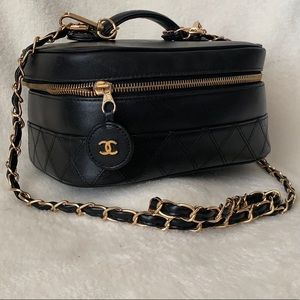 CHANEL Lambskin Quilted Flap Vanity Case Crossbody